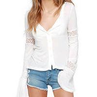 Lace Accent V-neck Bell Sleeve Blouse