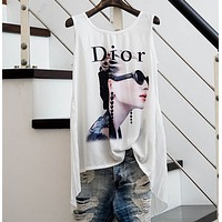 Dior Fashion sleeveless Chiffon print Women shirt vest