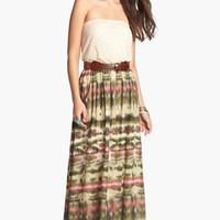 As U Wish Crochet Top Strapless Maxi Dress (Juniors) (Online Only) | Nordstrom