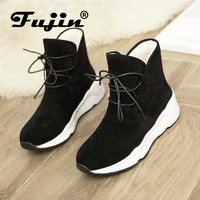 Fujin Brand Women Boots Autumn Winter Keep Warm Ankle Boots Lace Up Booties Comfortable Winter for Women Shoes
