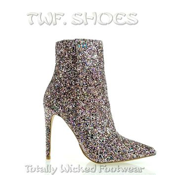 "Amanda Sexy Pointy Toe 4.5"" High Heel Multi Glitter Ankle Boots 7-11"