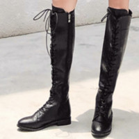 New chunky flat belted side zipper skinny leg boots for ladies