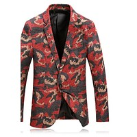 Red Camouflage Blazer Men Casual Suit Jacket Peacock Floral Printed Blazers For Men Vintage Stage Wear