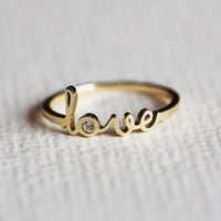 Love Ring, SOLID Gold Love Ring, Rose Gold Love Ring, Diamond Love Ring, Birthstone Ring, Name Rings