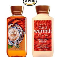 Cup of Warmth Body Lotion and Cup of Warmth Shower Gel - Pair of TWO (2) bottles - Bath & Body Works Signature Collection - Chamomile and Bergamot fragrance