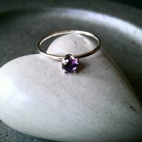 Amethyst February Birthstone Stackable Ring