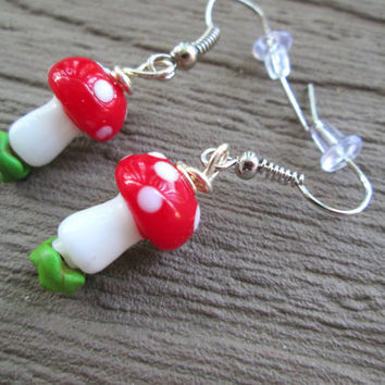 Red Mushroom Earrings, Mario Inspired, Woodland Toadstool Jewelry, Hippie Fashion, Bohemian Style, Lampwork, Nickel Free