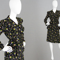 Vintage 70s JEFF BANKS Two Piece Skirt Suit Peplum Blouse Ditsy Floral Print Rayon Shirt British Boutique High Waist Skirt 1940s Style Suit
