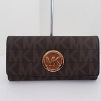 NWT AUTHENTIC MICHAEL KORS FULTON CARRYALL SIGNATURE WALLET-$148-BROWN