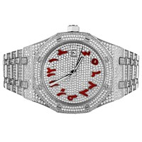 Mens Red Arabic Dial Date Stainless Steel New Luxury Watch
