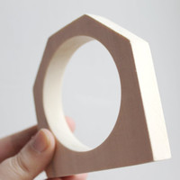 15 mm Wooden bangle unfinished hexahedral - natural eco friendly HX15