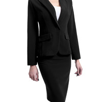 LE3NO Womens Fitted Single Button Long Sleeve Blazer and Skirt Suit Set