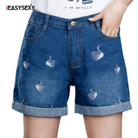 iEASYSEXY 2017 New Fashion Pattern Embroidery Shorts Woman Elastic Shorts Feminino Jeans Pockets Women Shorts Demin Plus Size