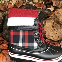 Plaid Duck Boots Sock Top Fur Trimmed Fleece Lined