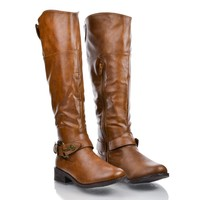 Jagger14 Round Toe Western Ankle Buckle Knee High Low Heel Riding Boots