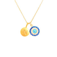 Gold Initial & Evil Eye CZ Charm Necklace
