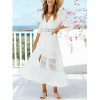 Summer new sexy V-neck lace stitching white dress bikini blouse