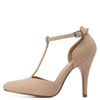 Oatmeal Pointed Toe T-Strap Pumps by Charlotte Russe