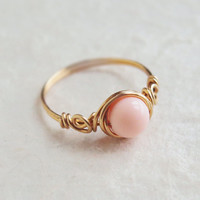 Peach Stone Rose Ring