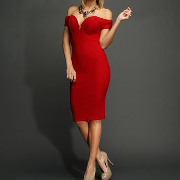 Sale-red Textured Off The Shoulder Midi Dress