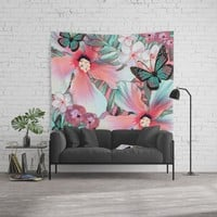 Peachy Mint Hibiscus Tropical Wall Tapestry by ninamay