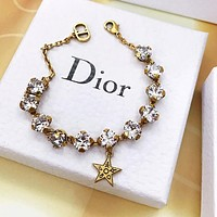 DIOR Woman Shiny Diamond Star Pendant Hand Catenary Bracelet Jewelry Accessories
