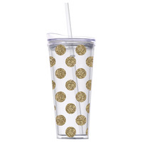 Gold Polka Dot Tumbler w/Straw