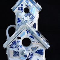 "Birdhouse Mosaic 2 story Blue willow / Butterfy 10"" x 6"" x 5"" OOAK Handcrafted"