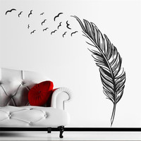 Flying feather wall sticker home decor adesivo de parede home decoration wallpaper wall sticker Living room decor