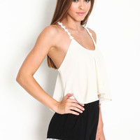 EMBROIDERED FLORAL STRAPS TOP