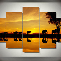 Framed Printed Africa elephant picture painting wall art room decor canvas art Decor For Living Room Free shipping F/928