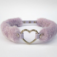 Adorable Pastel Kawaii Heart Choker, Furry Sweet Lolita Collar, Fairy Kei, Harajuku Necklace, Cosplay Gyaru Choker, Faux Fur, PU Leather