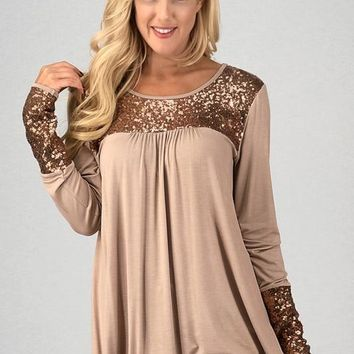 Long Sleeve Top with Sequins Details