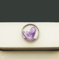 1PC Glass Epoxy Purple Amethyst Cluster Alloy Cell Phone Home Button Sticker Charm for iPhone 6,4s,4g,5,5c Kids Gift