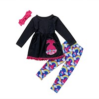 3Pcs Kids Baby Girl Rainbow Outfit Clothes Dress Top T Shirt+Long Pants Xmas Set