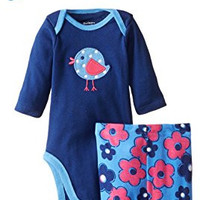 Gerber Baby-Girls Newborn 3 Piece Bodysuit Cap and Legging Set, Bird, 3-6 Months