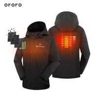 ORORO Womens Heated Jacket Detachable Hood with Battery Black Waterproof Windproof Coats Full Zipper Winter Outerwear Streetwear
