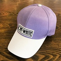 Off White Fashion New Letter Contrast Color Women Men Sunscreen Travel Cap Hat Purple