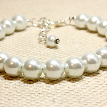 Extra Large White Glass Pearl Dog Jewelry. Classic Pet Jewelry for Small Medium Large Dogs. Dog Accessories for Wedding Party. Puppy Bling.