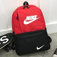 NIKE Popular Women Men Print Zipper Sport Travel Bag Shoulder Bag School Backpack Red