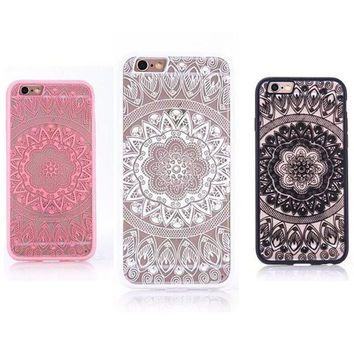 Phone Case For iPhone 7 7 Plus 6 6s Plus 5 5s SE Flower Mandala Retro Dreamcatcher Covers Clear TPU PC Back Covers for iPhone 7