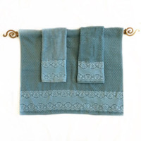 Smoky Blue Towel Set of 3 Decorative Chevron Towels for New Home Gift, Guest Bathroom Decor Master Bath Decor Idea Wedding Gift for Daughter