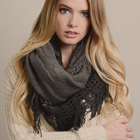 Tassel Holloew Warming Knitted Scarf