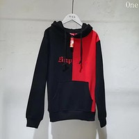 Supreme Women Men Couple Fashion Multicolor Logo Embroidery Loose Hooded Top Sweater Pullover