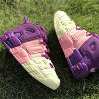 [Free Shipping ]Nike Air More Uptempo Citron Pink Purple  Women AV8237-800 Basketball Sneaker
