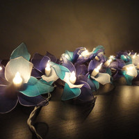 20 Blue Sky Orchid Flower Fairy String Lights Wedding Party Floral Home Decor 3.5m