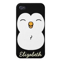 Cute Penguin personalize name Covers For iPhone 4