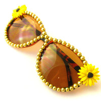 Bright Yellow Sunflower & Gold Pearl Bedazzled Sunglasses - Super Sparkly Fashion Eyewear