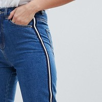 Vero Moda Tall Mom Jean With Side Tape at asos.com