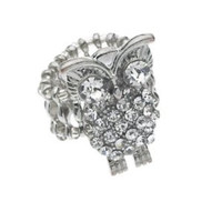 Austrian Crystal Owl Ring, Stretch Rolex Band